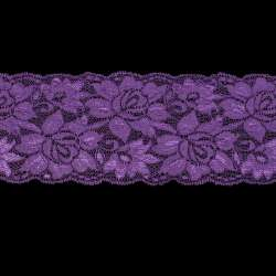 Кружево стрейч розы 100мм фиолетовое