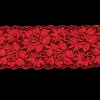 Кружево стрейч красное блестящее ш.10см