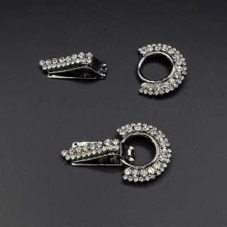 Крючок шубный металл со стразами 65х38мм серебристый