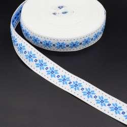 Стрічка оздоблювальна біла з орнаментом 30мм синя 08В28Г27