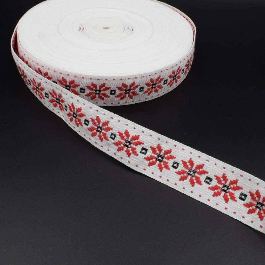 Стрічка оздоблювальна біла с орнаментом 30мм червона 08В28Г27