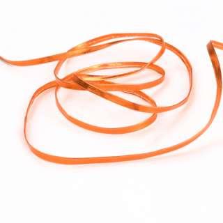 Тесьма кожаная лакированная 5мм оранжевая