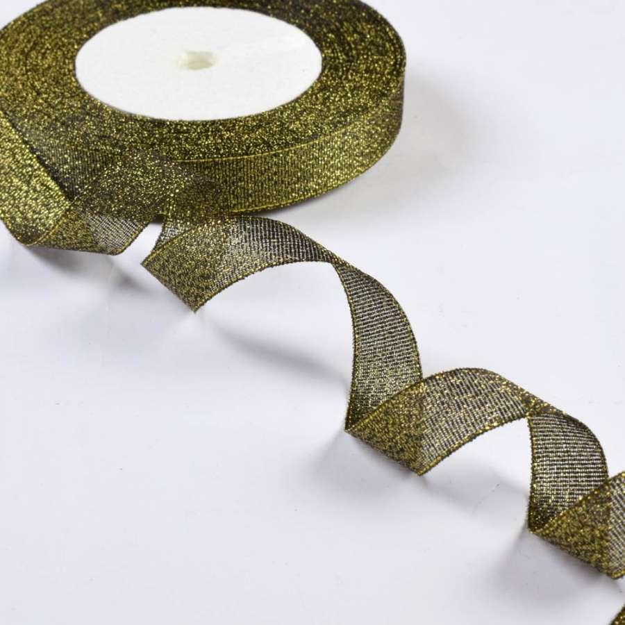 стрічка обробна з люрексом темне золото 1,5 см