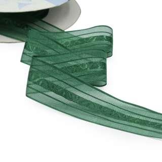 Лента капроновая жаккардовая 30мм зеленая темная