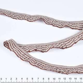 стрічка в коричнево-білі смужки на гумці 2см