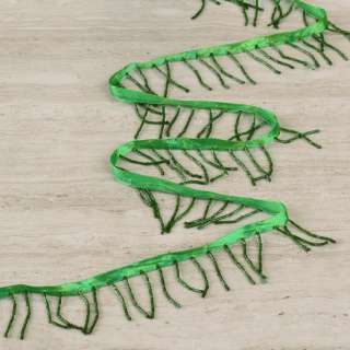 Бахрома бисерная на атласной ленте зеленая, темно-зеленый бисер