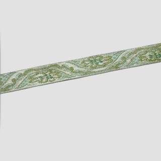 тасьма зелена з золотим 15мм