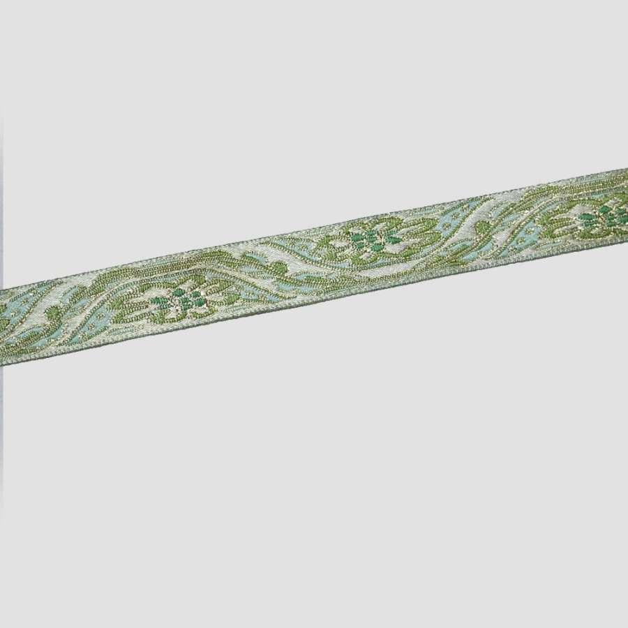 тесьма зеленая с золотым 15мм