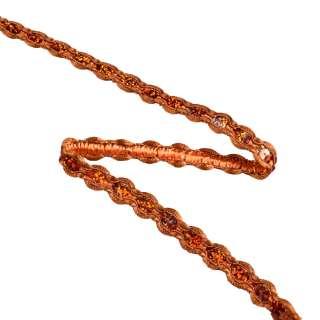 Тесьма с пайетками плетеная 15мм терракотовая