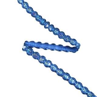 Тесьма с пайетками плетеная 15мм синяя