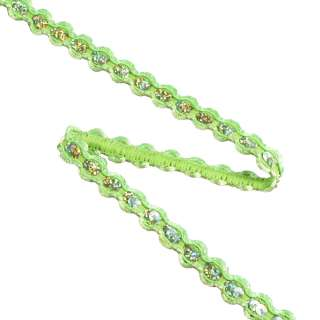 Тесьма с пайетками плетеная 15мм зеленая