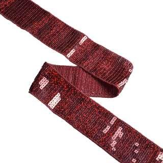 тесьма с пайетками бордовая, ш.40мм