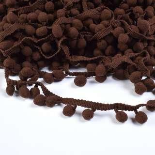 Тасьма з помпонами 10мм коричнева