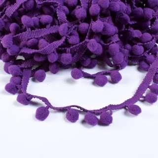 Тасьма з помпонами 10мм фіолетова