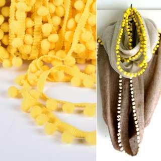 Тасьма з помпонами 10мм жовта