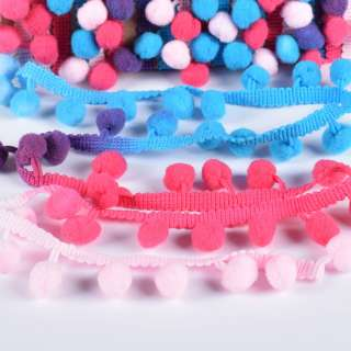 Тесьма с помпонами 10мм радуга (малиновый, голубой, розовый, фиолетовый)