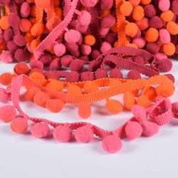 Тесьма с помпонами 10мм радуга (малиновый, оранжевый, фрезовый)