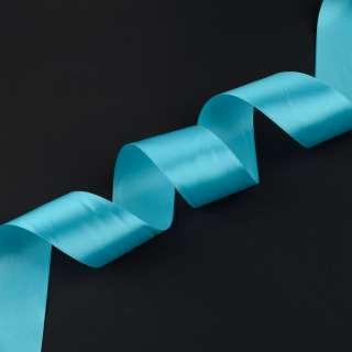 лента атласная 5см голубая
