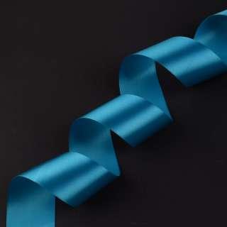 лента атласная 5см голубая темная