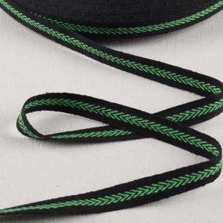 Лента киперная 15мм черная с зеленым узором 14В22Г27