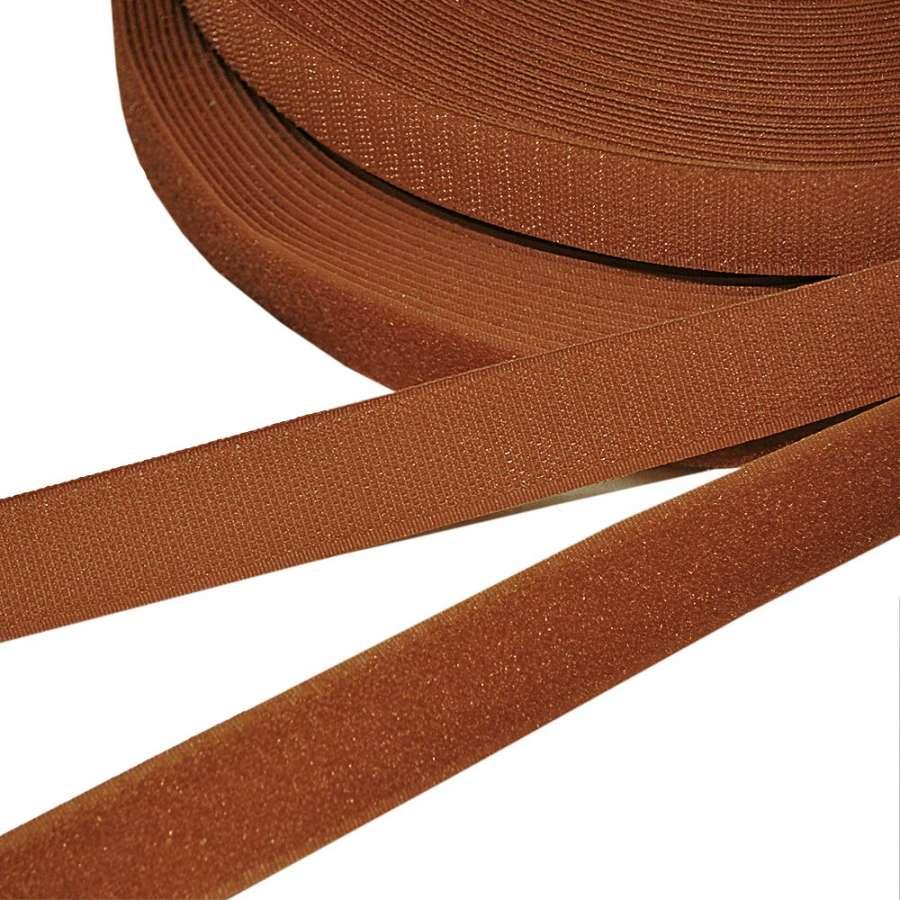 Лента липучка 25мм коричнево-рыжая №12