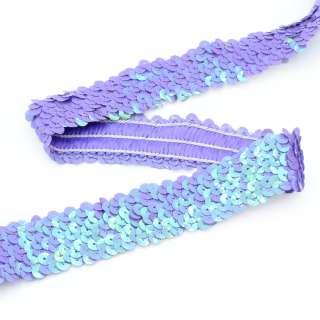 Резинка с пайетками фиолетовая