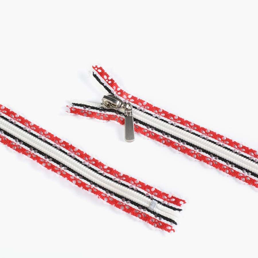 молния ажурная спиральная М-20 №7 бело-красно-черная