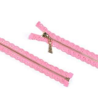 блискавка ажурна метал М-70 роз'ємна тип-7 рожева