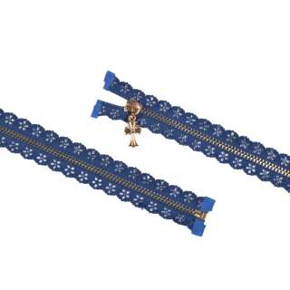 блискавка ажурна метал М-70 роз'ємна тип-7 синя