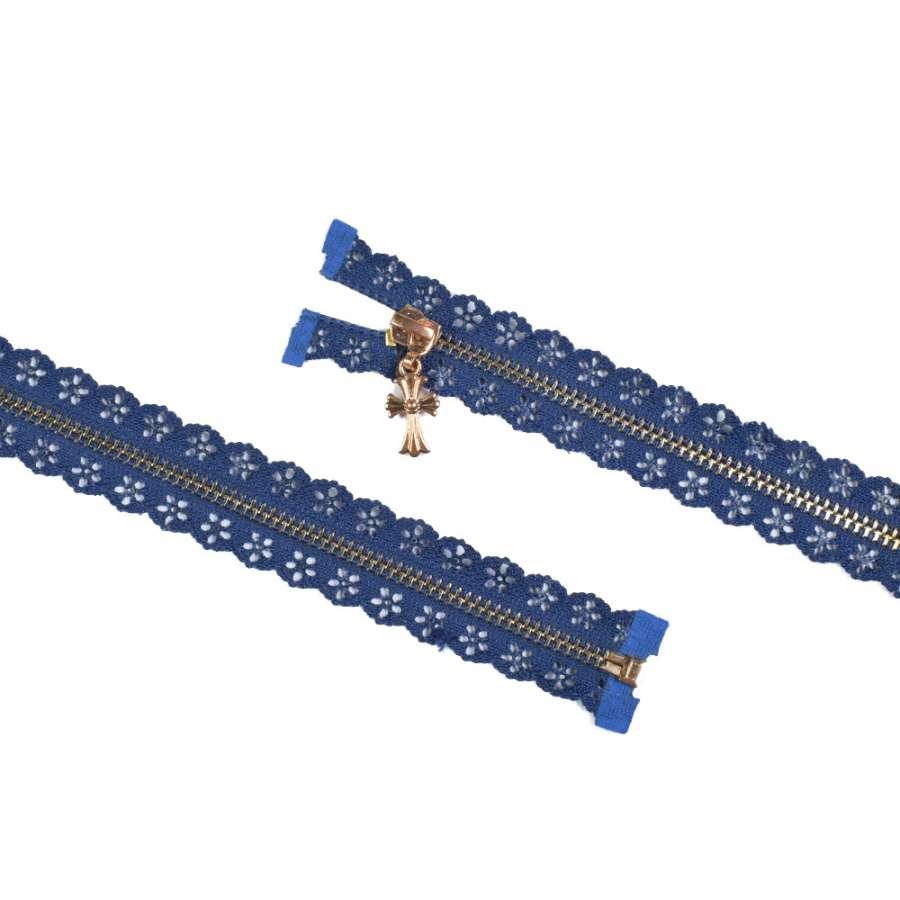 молния ажурная металл М-70 разъемная тип-7 синяя