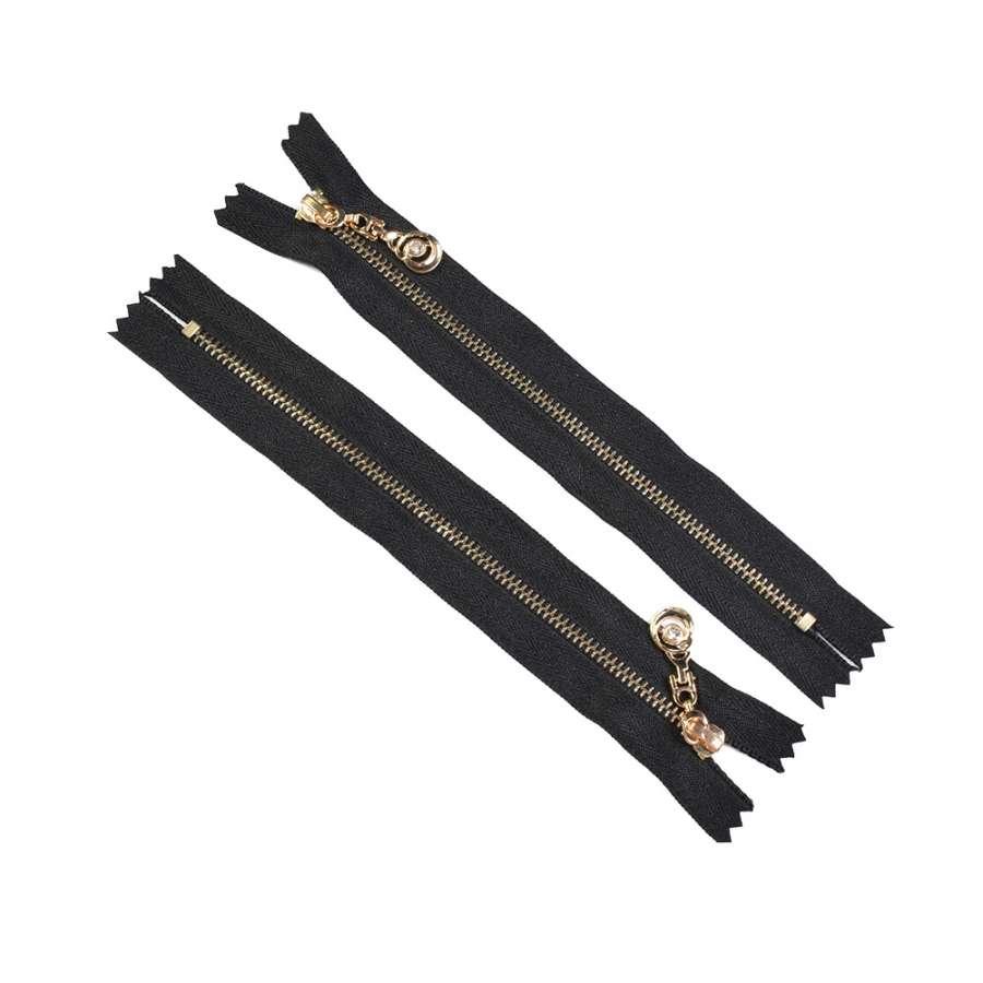 Молния металл М-18 Тип-3 неразъемная х/б золото черная