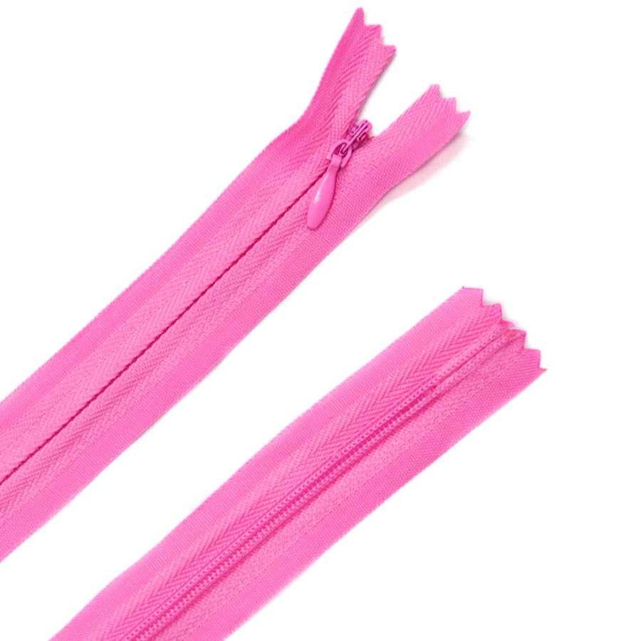 молния потайная, 50 см, розовая яркая