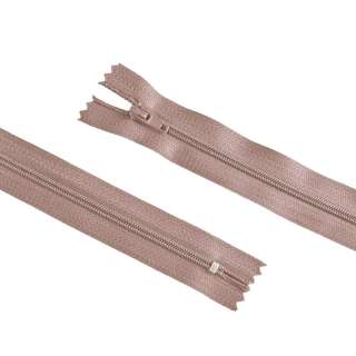 молния спиральная М-20 Тип-3 неразъемная х/б коричнево-розовая