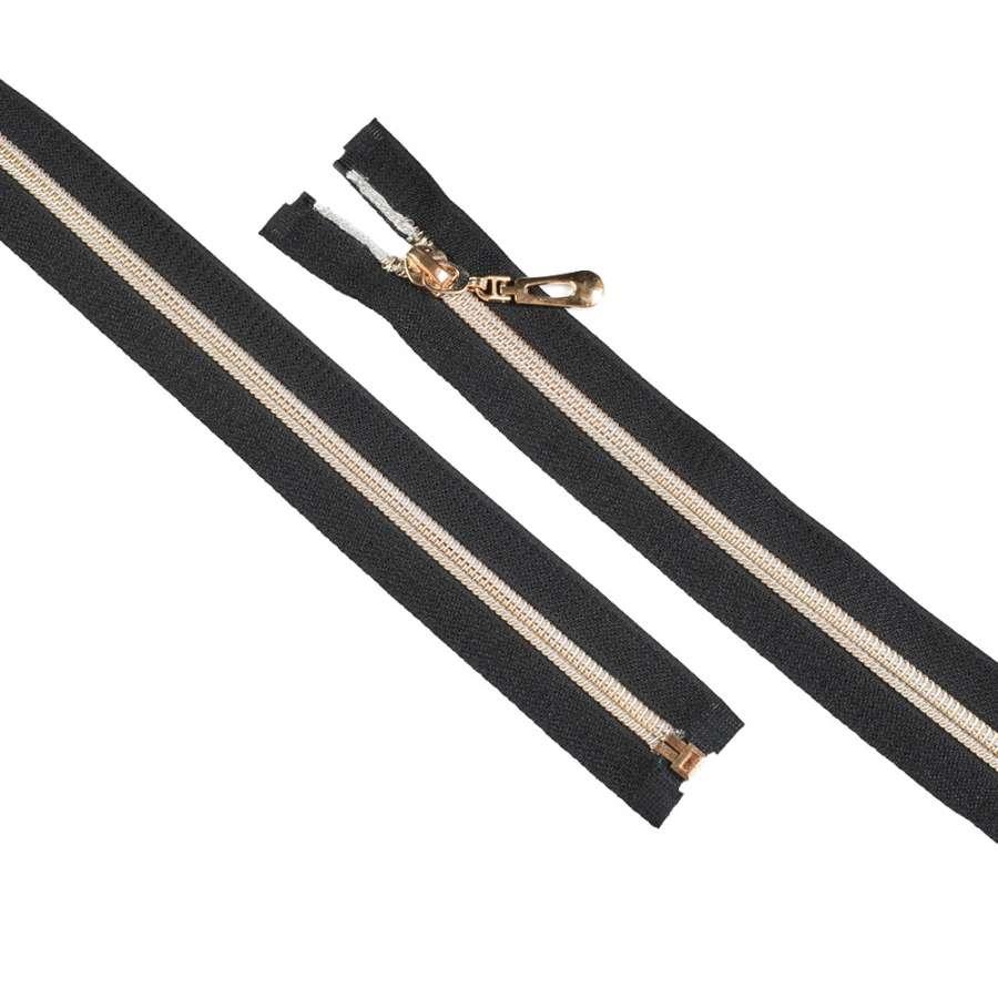 Молния спиральная М-60 Тип-7 разъемная х/б золотистая черная