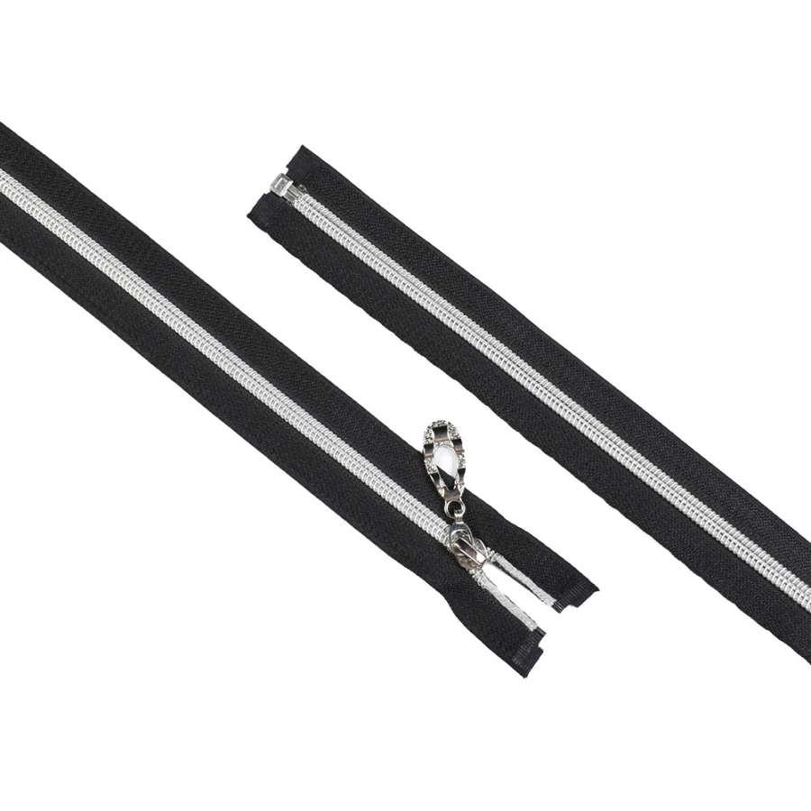 молния спиральная М-80 разъемная черная серебристая