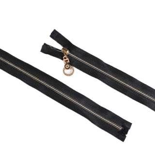 молния спиральная М-120 №3 черная золотистая