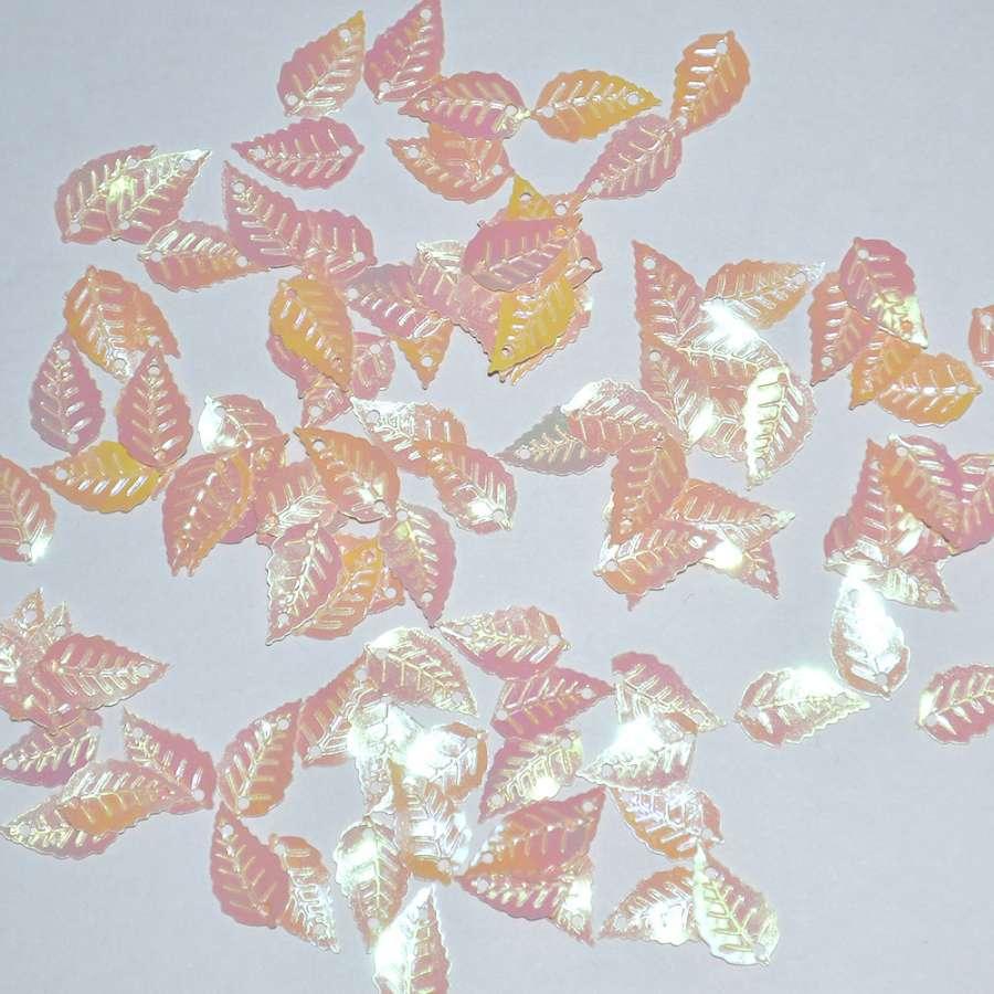 пайетка-листик бледно-оранжевая, 25 г