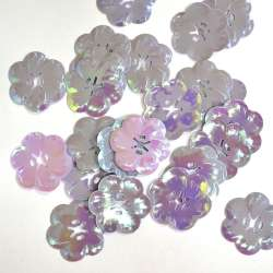 Пайетка хамелеон цветок 27х27мм 25 г фиолетово-розовая