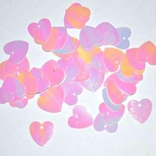 пайетка-сердце розовая хамелеон, 25 г