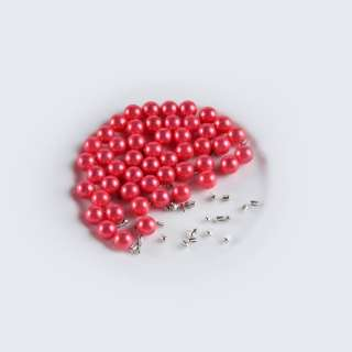 Жемчуг с заклепкой 8мм (50шт/уп) красный