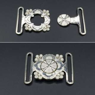 Пряжка металл разъемная 40мм цветок 55х45мм никель