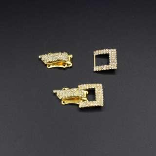 Крючек шубный металл со стразами 40х20мм золото, серебро