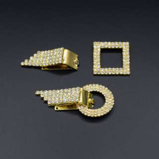 Крючек шубный металл со стразами 70х40мм золото, серебро