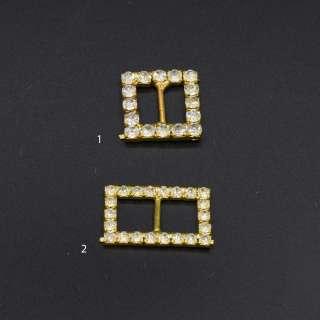 Пряжка неразъемная со стразами металл 10мм 25х15мм и 20х20мм золотистая