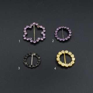 Пряжка неразъемная со стразами металл 15мм черная золотистая фиолетовая