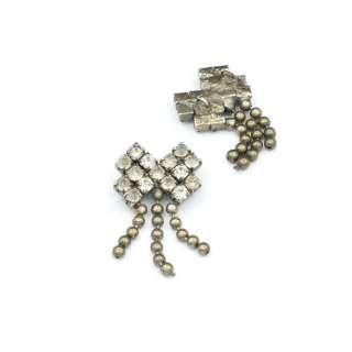Пришивних декор метал зі стразами бантик 17х33мм сріблястий