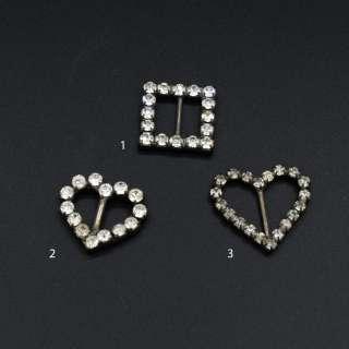 Пряжка неразъемная со стразами металл 10мм сердце прямоугольник серебристая