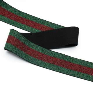 Резинка 40мм зеленая с красной полоской с люрексом