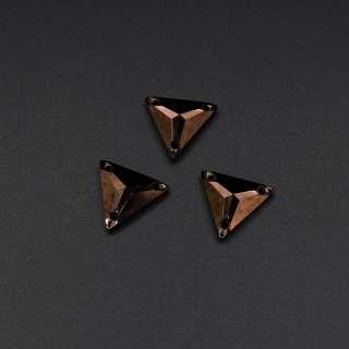 Кристалл пришивной треуголник граненый бронзовый