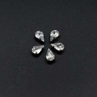 Страза в цапах металл акрил капля маленькая серебристая